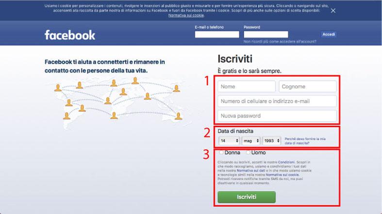 schermata iscrizione facebook post