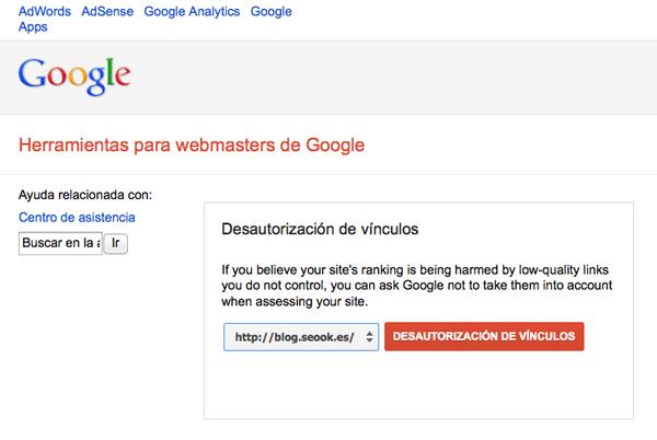 Disallow Links Tool  en Google Webmaster Tools