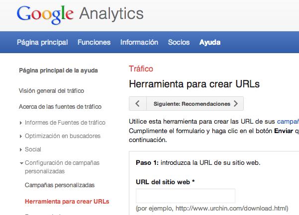 Etiquetado de URLs para Google Analytics