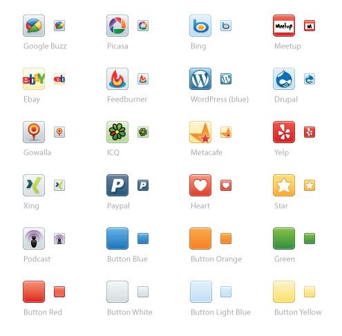Google Buzz, Picasa, Bing, Meetup, Ebay, Feedburner, WordPress (синя версия), Drupal, Gowalla, ICQ, Metacafe, Yelp, Xing, PayPal, Heart, Star, Podcast и различни цветни бутони (за да можете сами да си създавате).