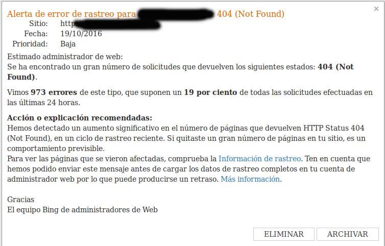 Mensaje en las herramientas para administradores web: aumento errores 404.