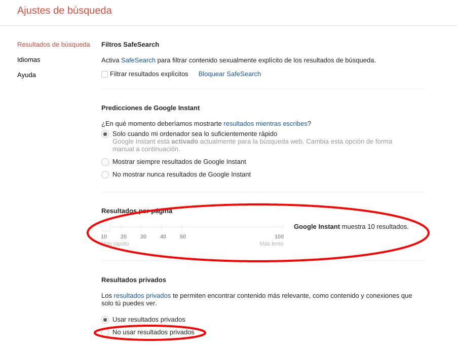 Ajustes en la búsqueda de Google