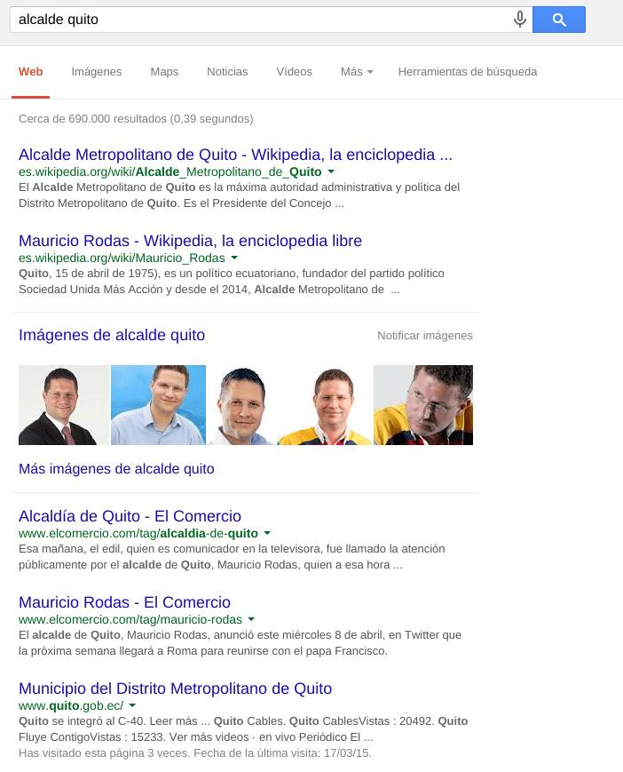 Búsqueda por alcalde quito en Google.