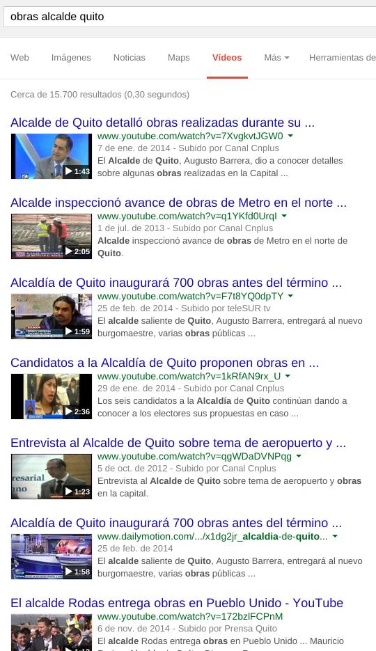 VIdeos sobre las obras del alcalde.