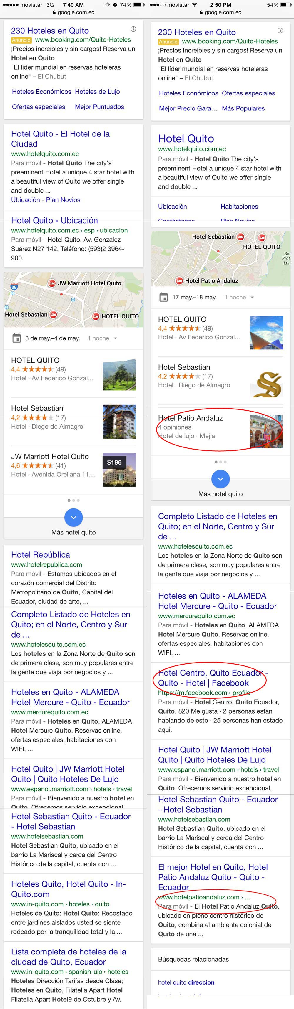 hotel quito: búsqueda móvil