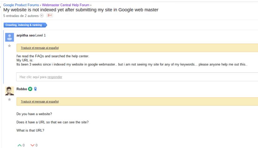 No puedo indexar mis páginas web en Google