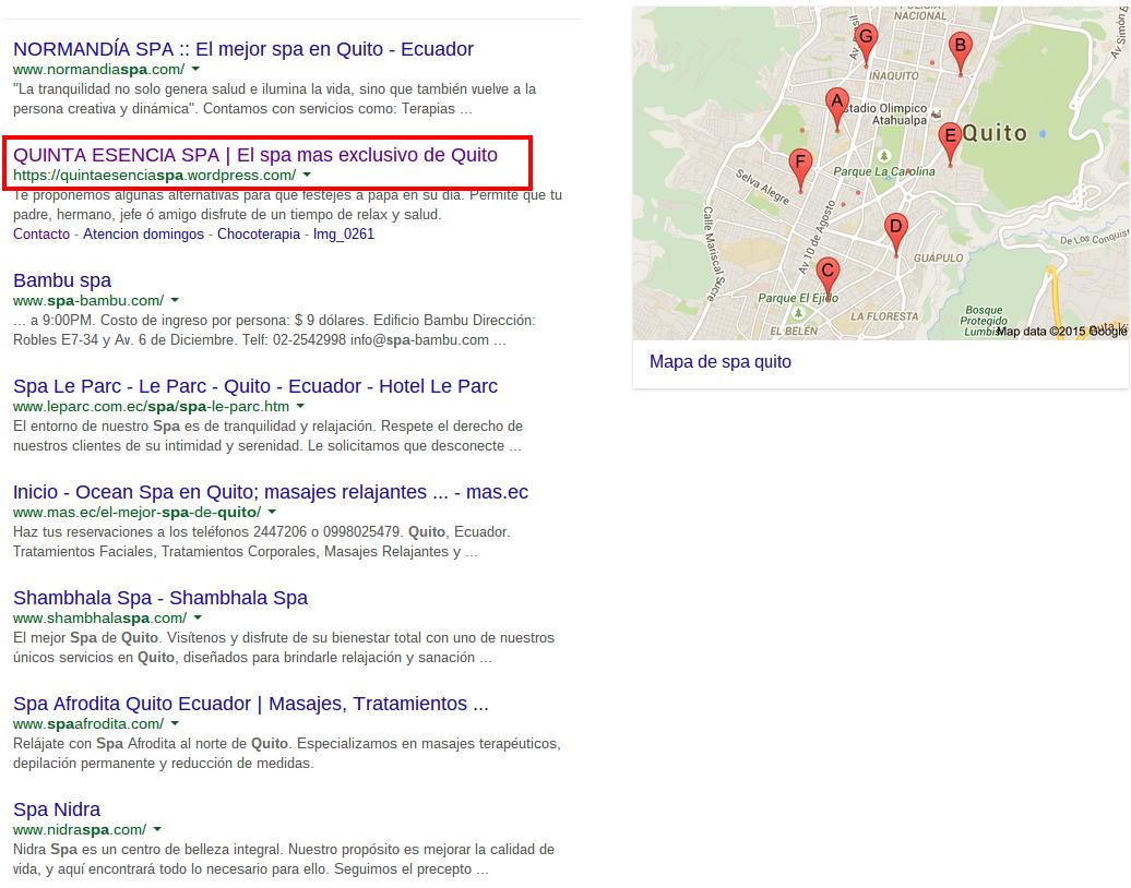 """Resultados de búsqueda por """"spa quito"""" en google.com.ec"""