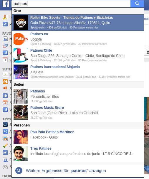 Resultados de búsqueda en Facebook.