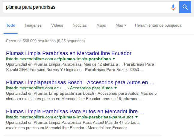 Resultados de búsqueda en Google: MercadoLibre