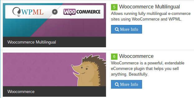 Plugins de WooCommerce instaladas en los sitios web.