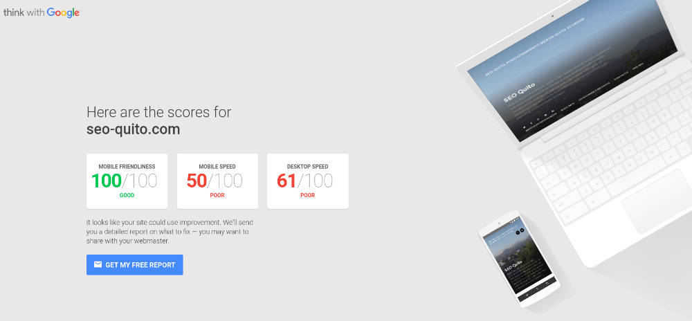 Testmysite de Google para ver sitespeed y optimización para dispositivos móviles