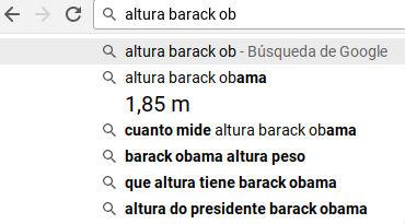 Búsqueda por altura Barack Obama a través de Chrome