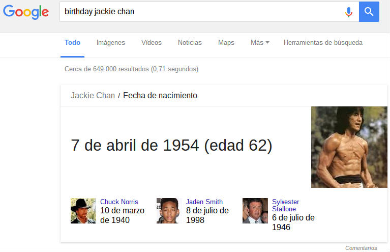 Birthday Jackie Chan in Google