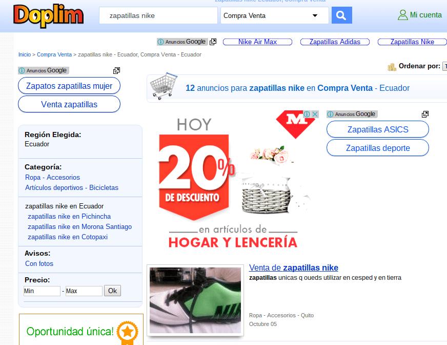 Publicidad en Doplim: no tiene ninguna relación con el producto buscado.