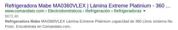 Google muestra precio de un producto que se vende en Comandato en los SERPs.