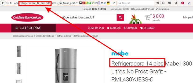 Créditos Económicos: en el url se dice 12 pies, en el título se dice que la refrigeradora tiene 14 pies.