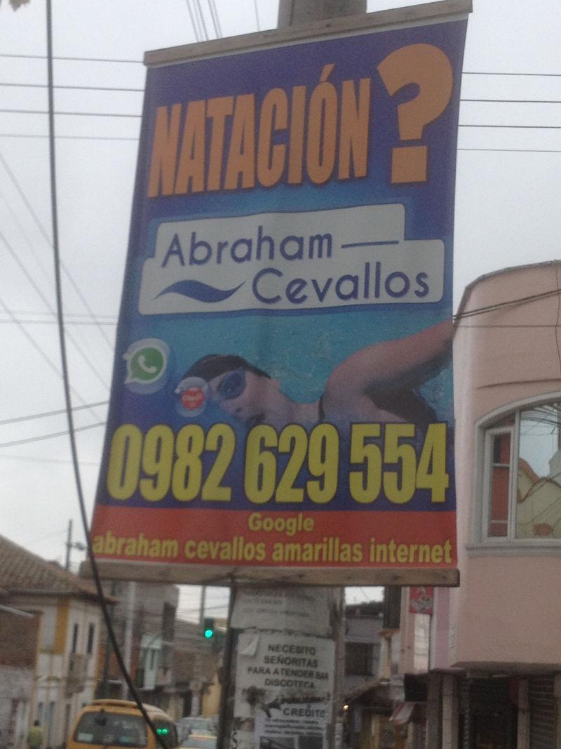 Publicidad para el curso de natación de Abraham Cevallos con la información sobre como buscar en Google.