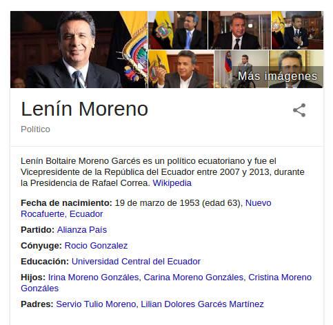 Knowledge Graph de Lenin Moreno.
