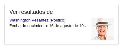 Google muestra un link a los resultados de búsqueda por Washington Pesántez (político).