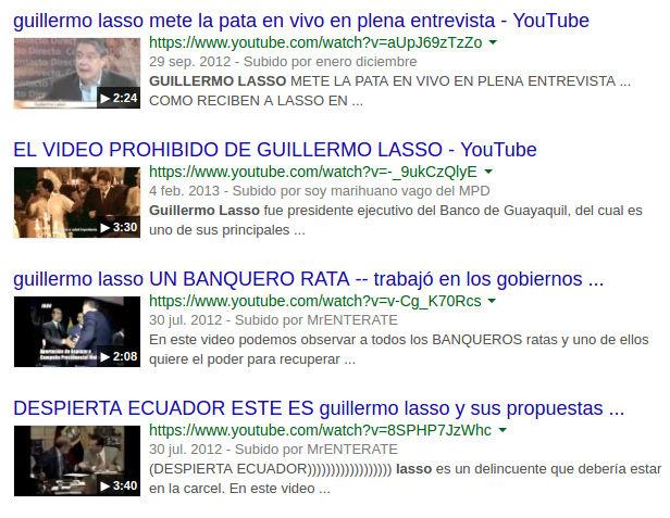 Resultados de búsqueda (videos) en Google sobre Guillermo Lasso.