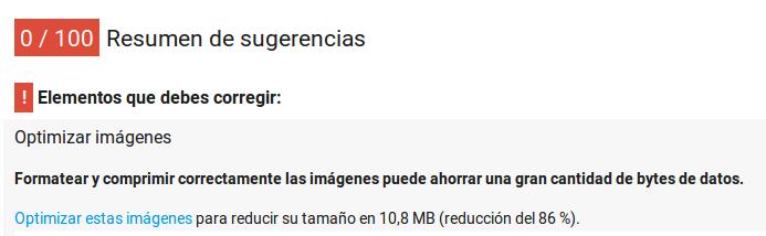 Sugerencias de Google: bajar peso de las imágenes.
