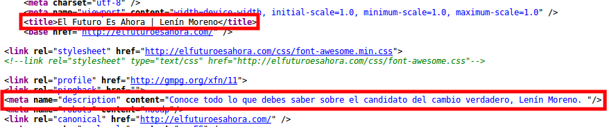 Title y descripción meta de la página de inicio de Moreno.