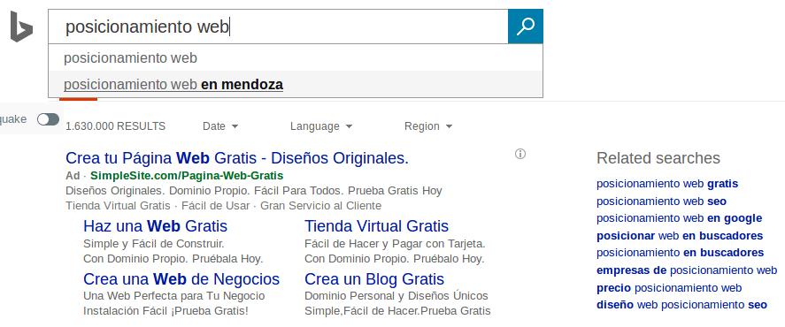 Sugerencias de búsqueda de Bing.