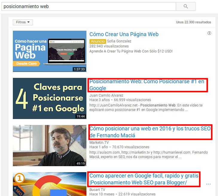 Encuentra preguntas a través de Youtube.