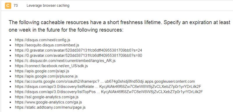 Leverage browser caching en Pingdom.