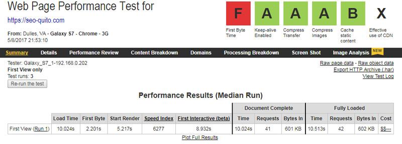 Velocidad en WebPagetest.