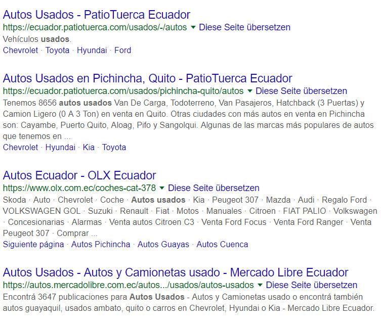 Subdominios en los resultados de búsqueda de Google.