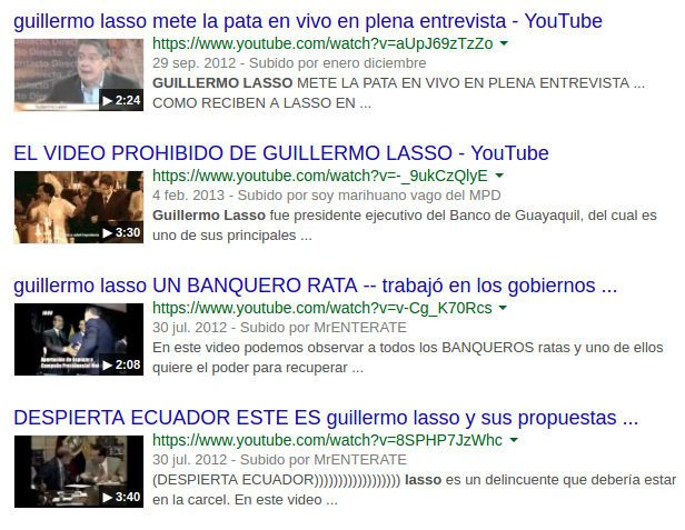 Videos de Youtube sobre Guillermo Lasso, 2017.