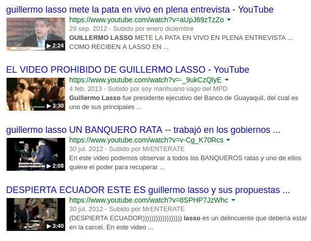 Videos de Youtube sobre Guillermo Lasso, 2017.