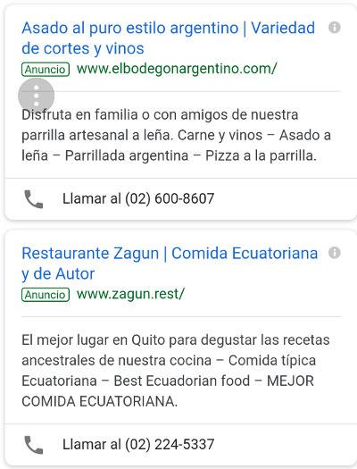 Adwords buscando por restaurantes que permiten mascotas.
