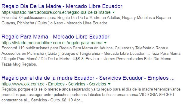 Resultados de búsqueda de OLX y MercadoLibre.