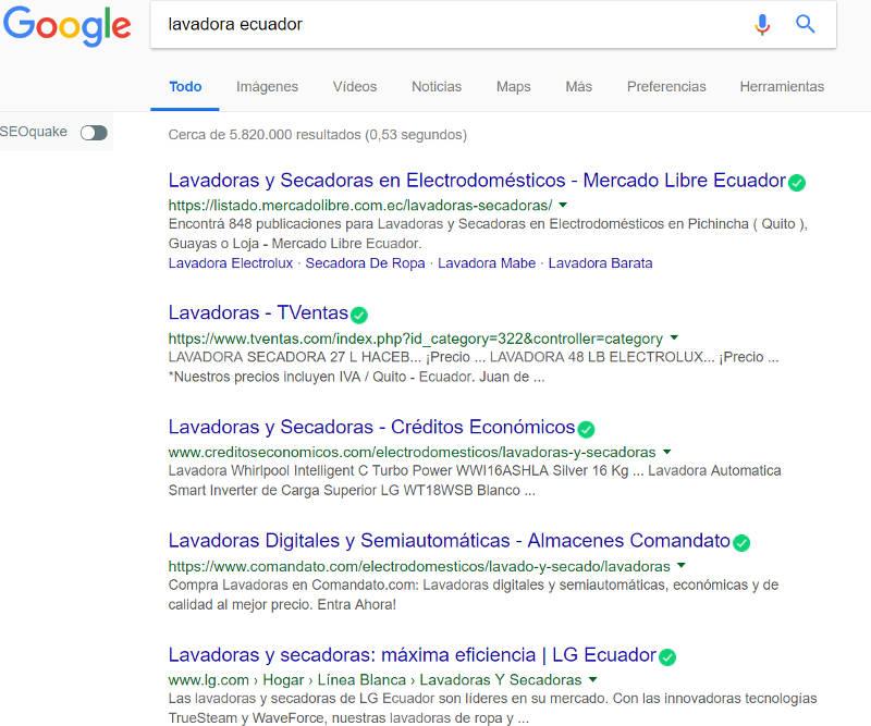 Búsqueda transaccional en Google.
