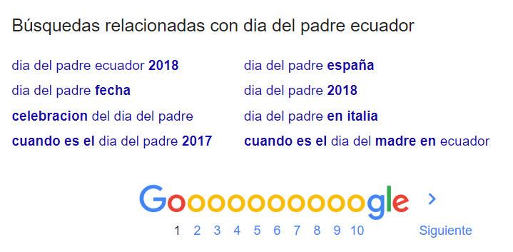 Búsqquedas relacionadas en Google.