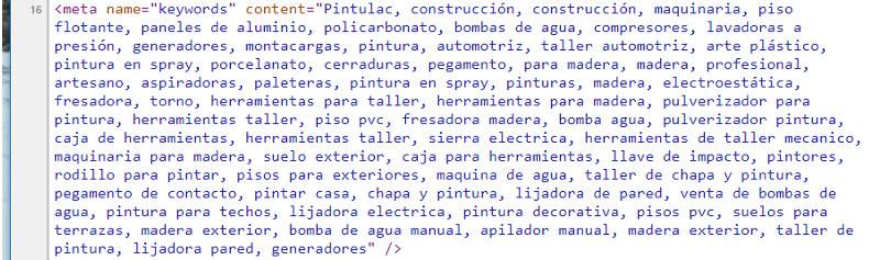 Meta keywords del home de Pintulac.