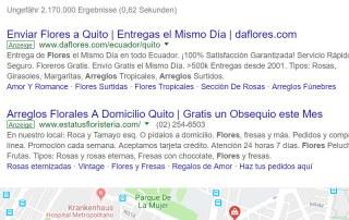 Resultados en Google Ecuador por arreglo flores quito.