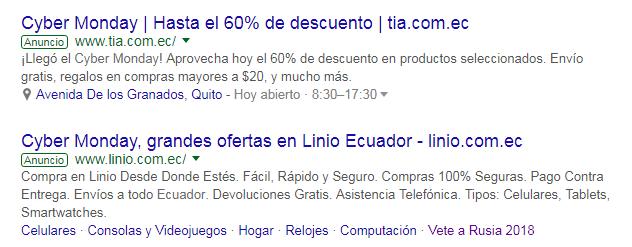 Adwords de Tía y Linio.