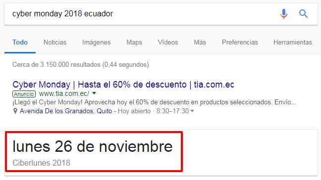 Google muestra la fecha del Cyber Monday. Pero no es la fecha correcta.