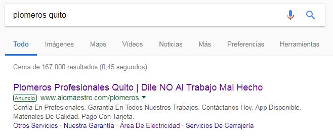 Google Ads de Aló Maestro para plomeros quito.