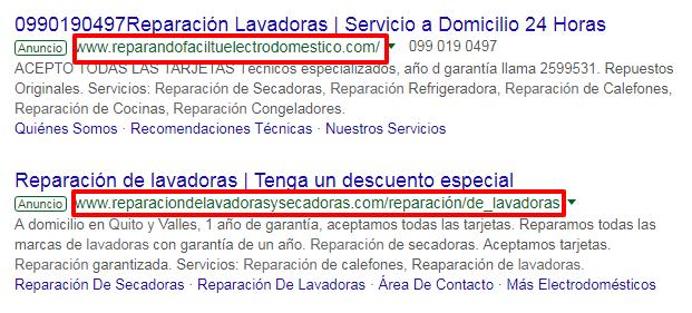 Se utiliza las palabras clave en el nombre del dominio.