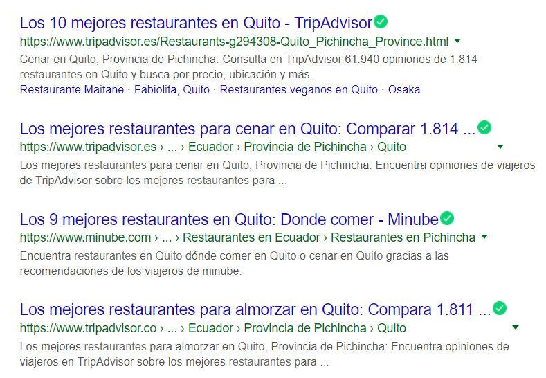 Resultados por restaurante quito en Google.