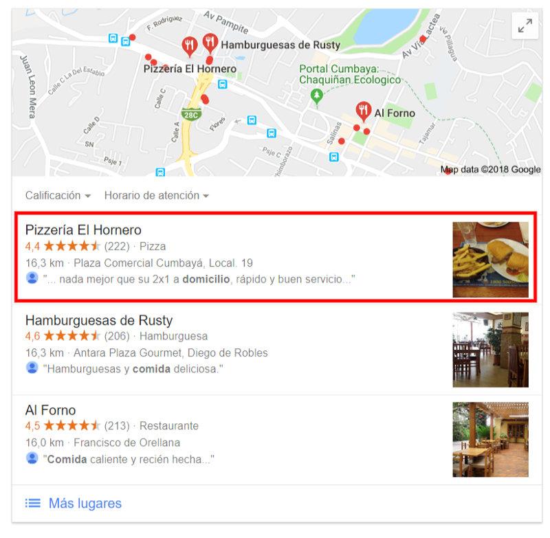 Pizzería Hornero en Google Mi Negocio.