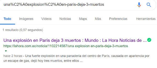 url de La Hora en Google.