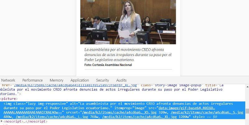Uso de Layz Load en El Telégrafo.