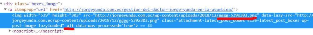 Código html de una imágen en el sitio de Yunda.