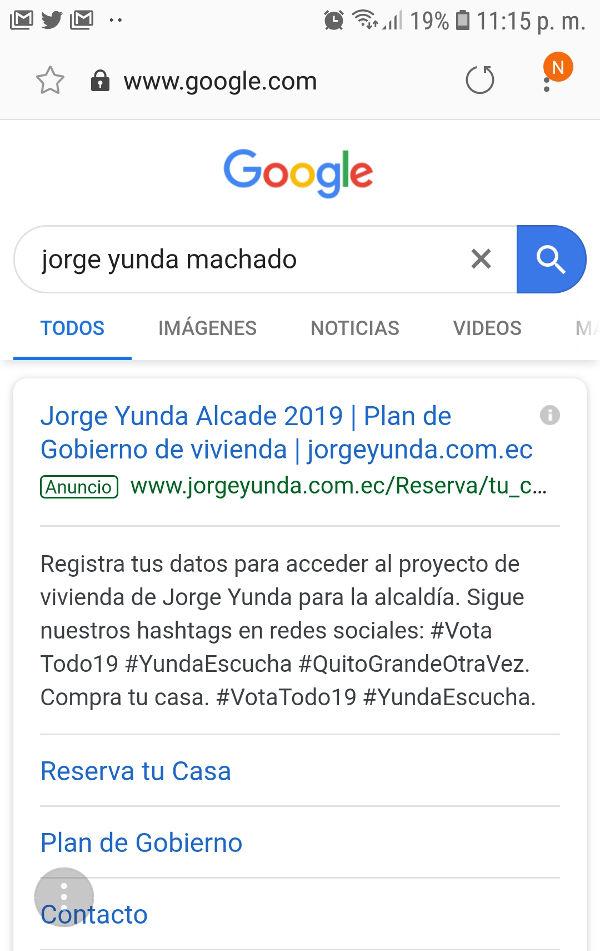 Publicidad de Yunda en Google.
