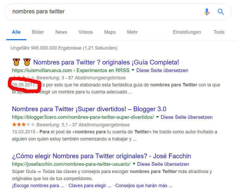 Resultados de búsqueda en Google para nombres para twitter.